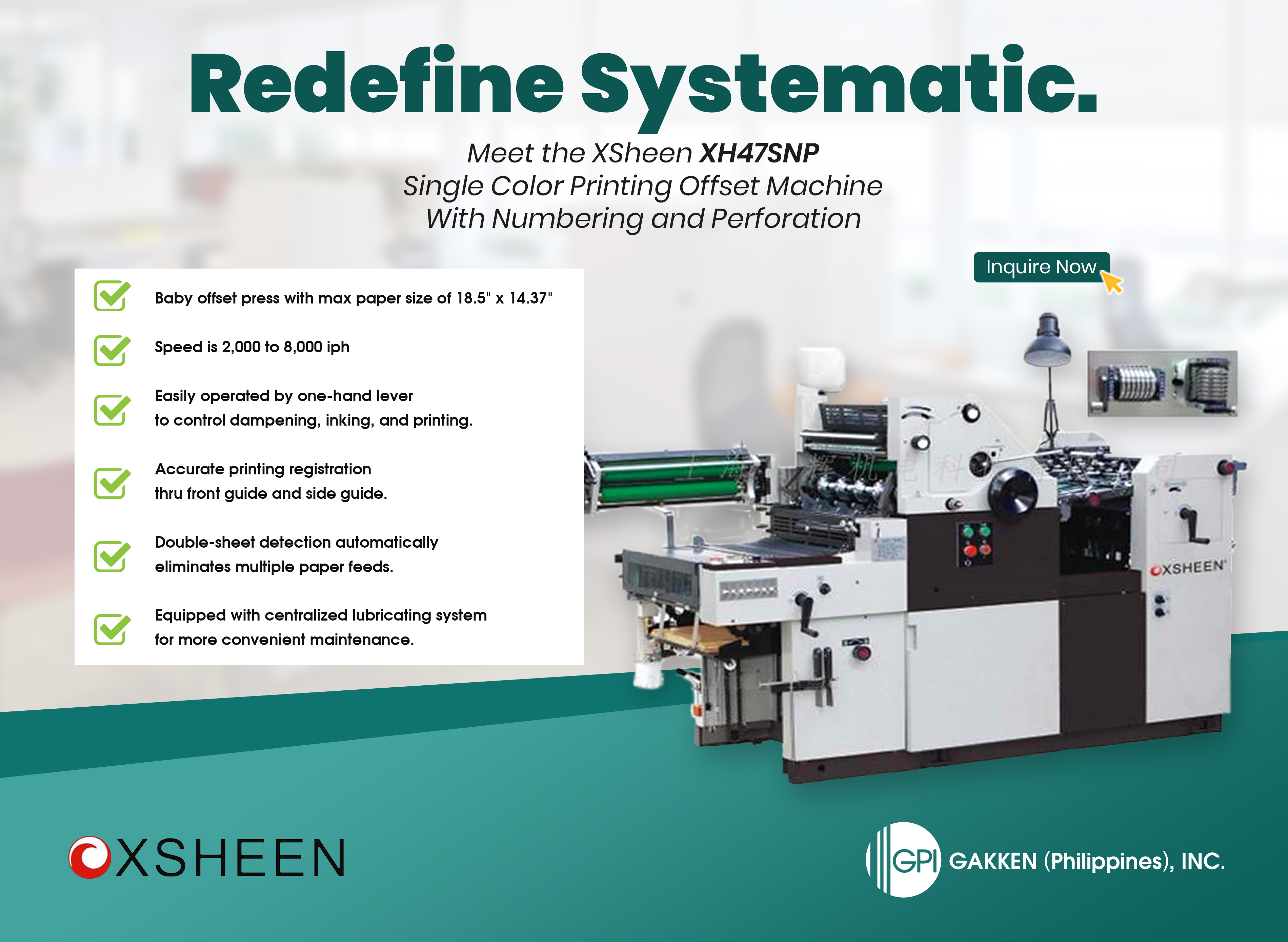 Meet XSheen XH47SNP – The Single Color Baby Offset Printing Machine with Numbering and Perforation